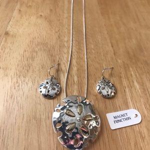 Jewelry - Sand Dollar Pendant Earrings Sterling Silver Chain